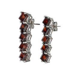APP: 0.4k 8.00CT Square Cut Almandite Garnet Sterling Silver Earrings