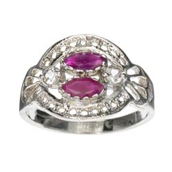 APP: 0.8k 0.40CT Ruby And Topaz Platinum Over Sterling Silver Ring