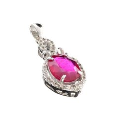 APP: 1.2k Fine Jewelry 3.81CT Ruby And Topaz Sterling Silver Pendant
