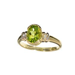 APP: 1k Fine Jewelry Designer Sebastian 14 KT Gold, 1.25CT Green Peridot And White Sapphire Ring