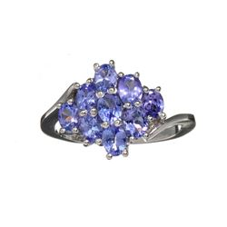 APP: 1.9k Fine Jewelry 1.80CT Oval Cut Violet Blue Tanzanite And Platinum Over Sterling Silver Ring