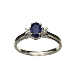 APP: 0.8k Fine Jewelry 0.45CT Blue Sapphire And Topaz Platinum Over Sterling Silver Ring