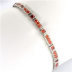 Custom Made Sterling Silver Fancy French Cubic Zirconium Tennis Bracelet