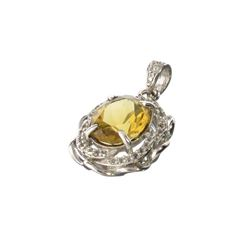 APP: 0.9k Fine Jewelry 3.00CT Oval Cut Citrine And White Sapphire Over Sterling Silver Pendant