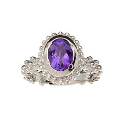 APP: 0.7k Fine Jewelry 1.10CT Oval Cut Amethyst Quartz And Platinum Over Sterling Silver Ring