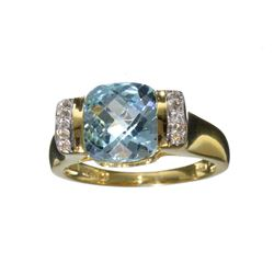 Fine Jewelry 4.15CT Blue Topaz And White Sapphire W a Yellow Gold Overlay Sterling Silver Ring
