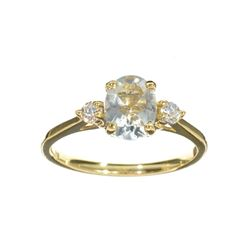 APP: 1.1k Fine Jewelry 14 KT Gold, 1.20CT Blue Aquamarine And White Sapphire Ring