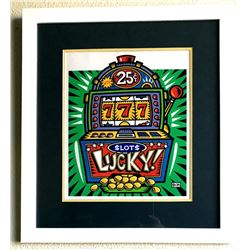 Burton Morris - ''''Slot Machine'''' Green Framed Giclee Original Signature