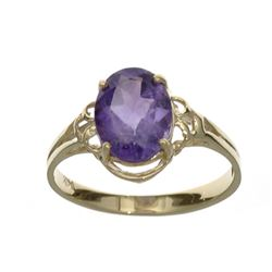 APP: 0.6k Fine Jewelry 14 KT Gold, 1.76CT Oval Cut Purple Amethyst Ring