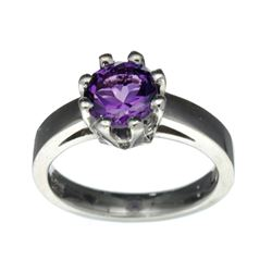 APP: 0.5k Fine Jewelry Designer Sebastian, 1.19CT Round Cut Amethyst And Sterling Silver Ring