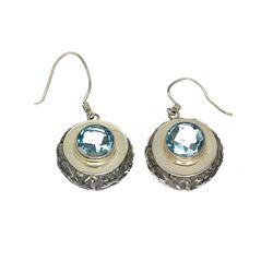 APP: 0.4k 9.00CT Round Cut Blue Topaz Sterling Silver Earrings