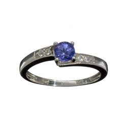 0.50CT Round Cut Violet Blue Tanzanite And Colorless Topaz Platinum Over Sterling Silver Ring