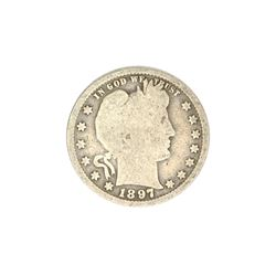 1897 Barber Head Quarter Dollar Coin