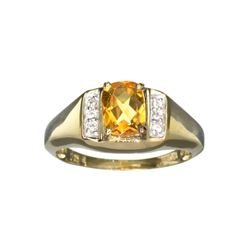 APP: 0.4k Fine Jewelry 1.38CT Citrine And White Sapphire With Gold Overlay Sterling Silver Ring