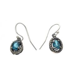 Rare Designer Sebastian Vintage, Blue Topaz And Sterling Silver Earrings