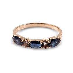 APP: 0.9k 14 kt. Gold, 0.90CT Blue And White Sapphire Ring
