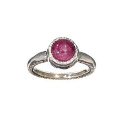 APP: 0.9k Fine Jewelry 2.90CT Round Cut Cabochon Ruby And Sterling Silver Ring
