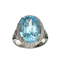 APP: 1k Fine Jewelry 11.05CT Blue Topaz And White Sapphire Sterling Silver Ring
