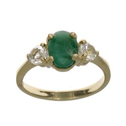 APP: 1.1k Fine Jewelry Designer Sebastian 14 KT Gold, 1.62CT Green Emerald And White Sapphire Ring