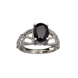 APP: 0.8k Fine Jewelry 2.50CT Oval Cut Dark Blue Sapphire And Sterling Silver Ring