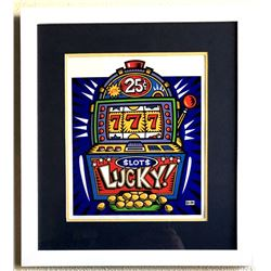 Burton Morris - ''''Slot Machine'''' Blue Framed Giclee Original Signature