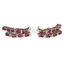 APP: 2.3k Fine Jewelry 3.05CT Ruby And Quartz Platinum Over Sterling Silver Earrings