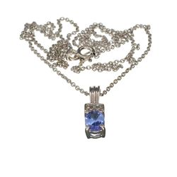 APP: 0.8k Fine Jewelry 0.71CT Tanzanite And White Sapphire Sterling Silver Pendant With 18'' Chain