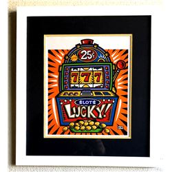 Burton Morris - ''''Slot Machine'''' Orange Framed Giclee Original Signature
