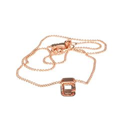 Fine Jewelry COACH Stainless Steel Rose Gold Tone Varsity 'C' Necklace