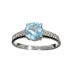 1.13CT Round Cut Light Blue Aquamarine And Colorless Topaz Platinum Over Sterling Silver Ring