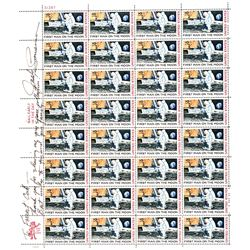 Skylab Astronaut JACK LOUSMA Signed FIRST MAN ON THE MOON Postage Stamp Sheet