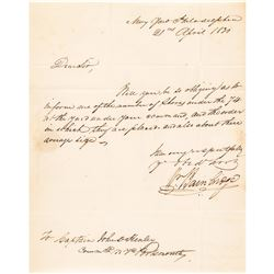 Commodore WILLIAM BAINBRIDGE Commander Frigate USS Constitution 1830 Navy Letter