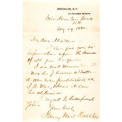 1880 Abolitionist Anti-Slavery Preacher HENRY WARD BEECHER Autographed Letter