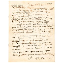 THOMAS ALVA EDISON Scientific Autograph Letter Signed with Hand-Drawn Diagrams
