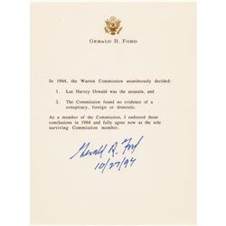GERALD R FORD Signed Warren Commission Findings as Part of a Five Item Group Lot
