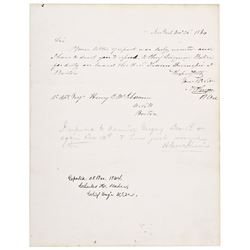 ADMIRAL FRANCIS H. GREGORY, Document Signed, 1864