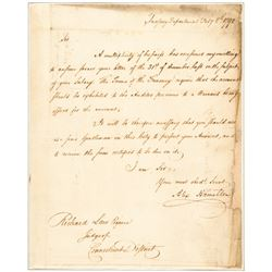 1790 ALEXANDER HAMILTON Treasury Department Autograph Letter Signed