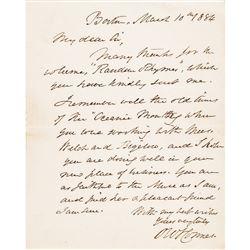 1884 OLIVER WENDELL HOLMES SR. Autograph Letter Signed with Envelope