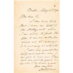 1892 OLIVER WENDELL HOLMES SR. Autograph Letter Signed