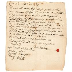 Battle of Lexington/Concord Related MERIAMS CORNER Isaac Meriam Signed Document