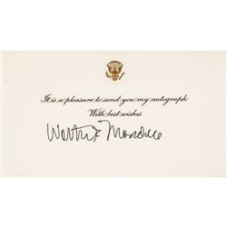WALTER MONDALE Presidential Seal Embossed Autograph Card Signed