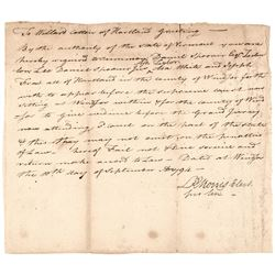 1794 LEWIS RICHARD MORRIS Signed Legal Document Vermont  Constitution Convention