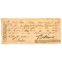 1792 ROBERT MORRIS Personal ROBt MORRIS Exchange Draft, 60 Day Form Philadelphia
