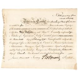 1795 Signer ROBERT MORRIS, Signed Stock Certificate North American Land Company