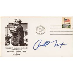 1979 RICHARD NIXON Signed Autograph Card + Signed Cache Postal Cover