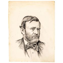 c. 1885 Original JACQUES REICH Pen and Ink Portrait Drawing of Ulysses S. Grant