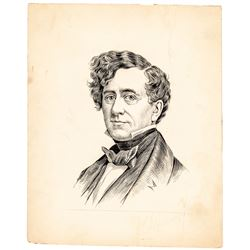 c. 1885 Original JACQUES REICH Pen and Ink Portrait Drawing of Franklin Pierce