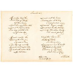SAMUEL FRANCIS SMITH Full Autograph Poem Signed AMERICA-My Country, 'Tis of Thee