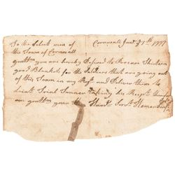 1777 Revolutionary War Autograph Letter Signed Colo. Heman Swift Cornwall (Conn)