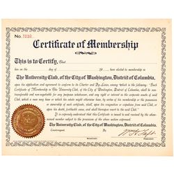 WILLIAM HENRY TAFT Signed 1904 University Club President Membership Certificate